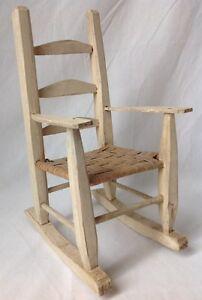 Vtg-Ladder-Back-Doll-Rocking-Chair-Rocker-Wooden-Woven-Seat-Primitive ...
