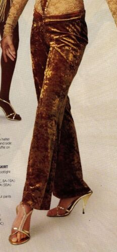 NWT VELVET JAZZ PANTS V FRONT CHILD Ladies DANCE light brown gold