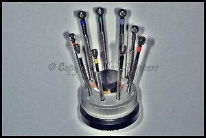 9-Replaceable-Blade-Screwdrivers-Swivel-Revolving-Stand-Base-Watchmaker-Jeweller