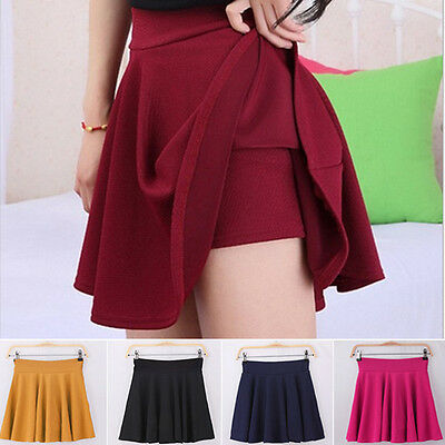 Sexy Women Stretch High Waist Mini Skirt Plain Skater Flared Pleated Short Dress