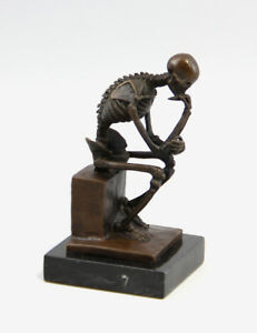 9937217-ds Bronzo Scultura Statua il Pensatore come Scheletro 9x8x16cm