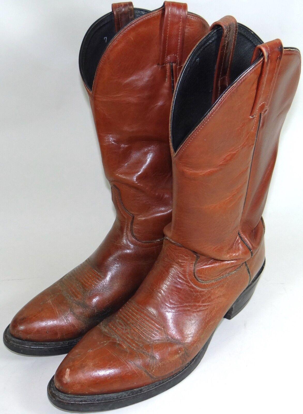 Tony Lama Cuero botas De Vaquero De Colección Rojo Marrón Dominion para hombre 10.5 estilo 4503 Raro