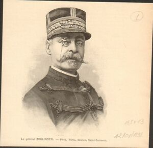 Portrait-General-division-Emile-Zurlinden-FRANCE-GRAVURE-ANTIQUE-OLD-PRINT-1898