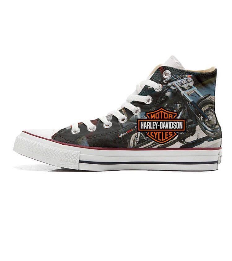 Los zapatos más populares para hombres y mujeres Scarpe sneakers Converse All Star Custom Harley, artigianali Made in Italy