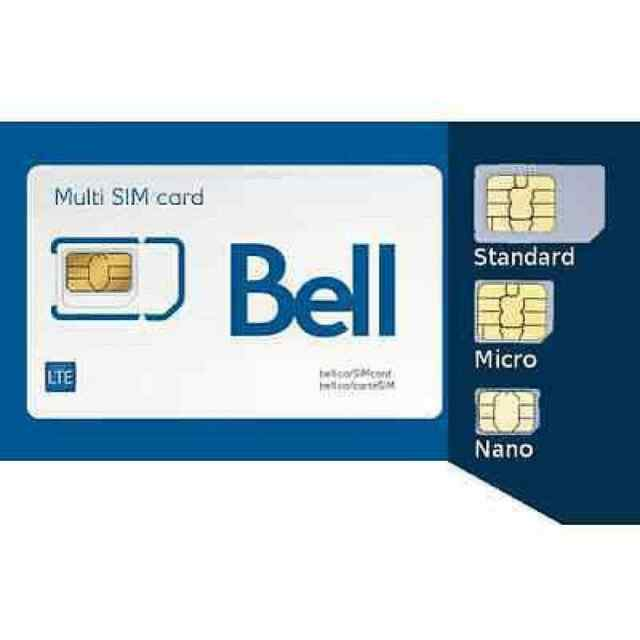 Bell Multi Sim Card Regular Micro Nano LTE 4G / Shipping today From Canada