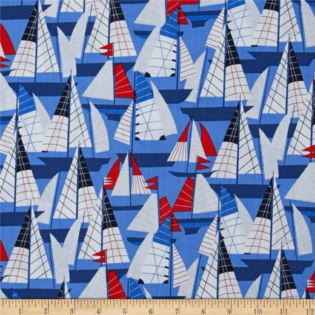 Cabana Regatta Sailing Boats Fabric by Kanvas for Benartex  100% Cotton  FQ
