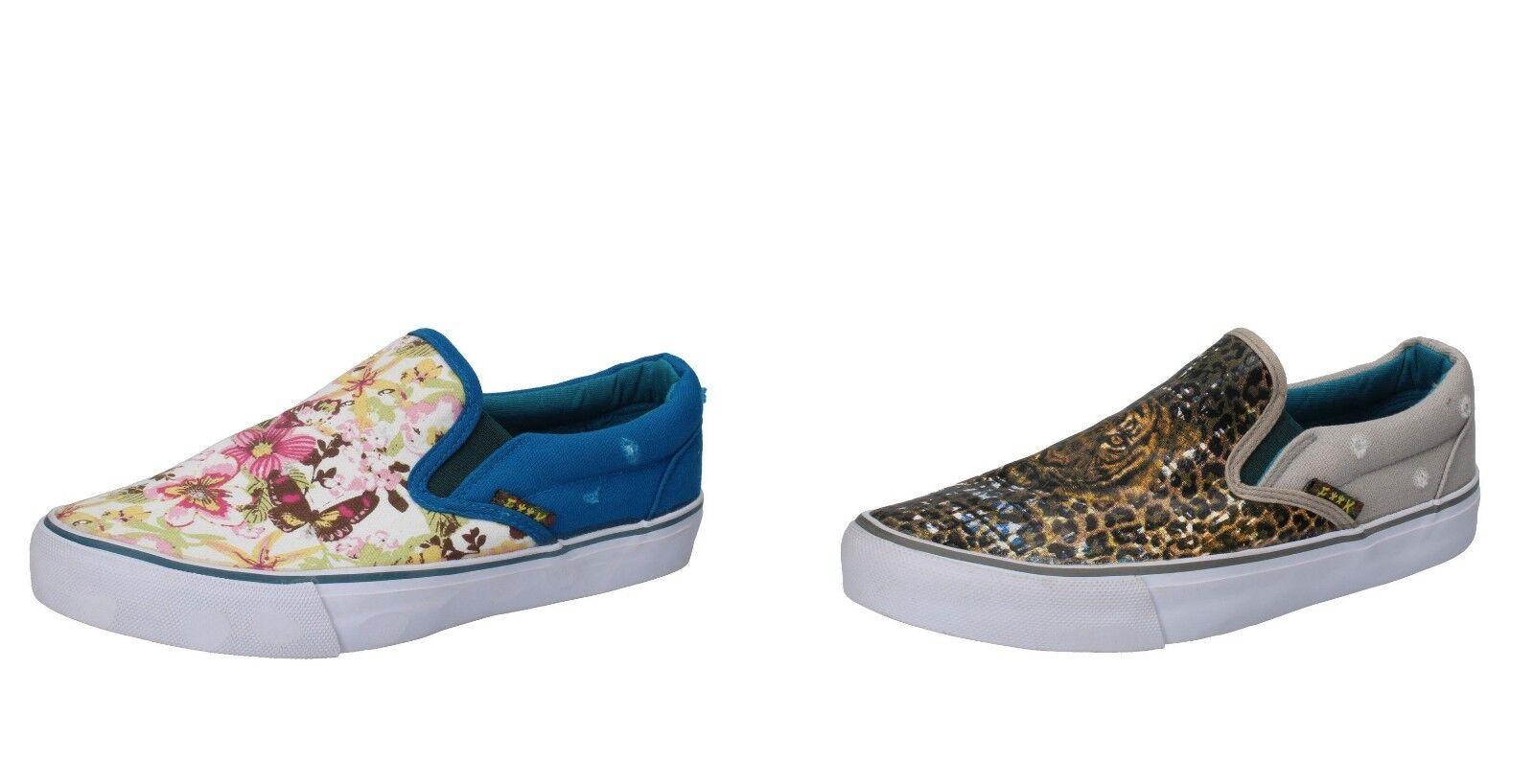 F**K on PROJECT scarpe donna slip on F**K mocassino tessuto blu a fiori - grigio tigrato 118072