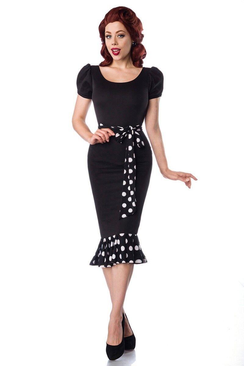 Jersey-Kleid im Retrostil mit Puffärmeln schwarz weiß von BELSIRA 50028