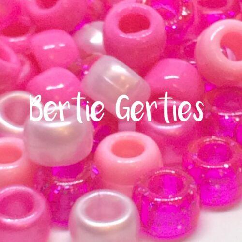 Pink christmas xmas mix blue white *3 For 2* 100//500//1000 Barrel Pony Beads