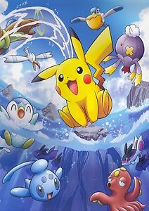 pikachu japanese anime pokemon game 0092 poster print a4