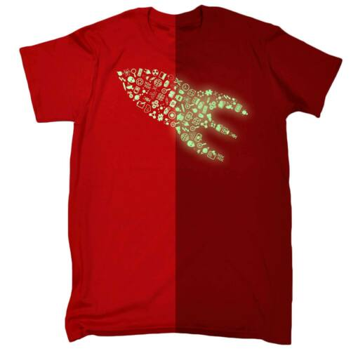 Glow in the Dark razzo nave Marziano PIANETI SCI-FI T-Shirt Compleanno Divertente