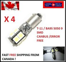 4Pcs white T11 BA9S W6W 5050 9SMD 9 LED Led Canbus Error Free Lamps 12V DC Xenon