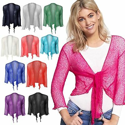 Begeistert Ladies Womens Tie Up Knot Fine Knit 3/4 Sleeve Cropped Bolero Shrug Cardigan Top