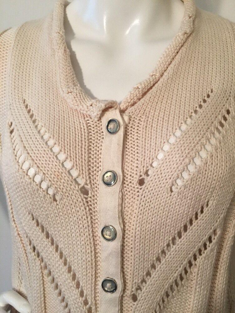 PURE Handknit Sweater Button Front Off-White Sz S M 100% Cotton