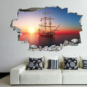 Pirate Sailing Ship Sunset 3d Wall Art Sticker Mural Decal Home Kids Decor Dp13 Ebay