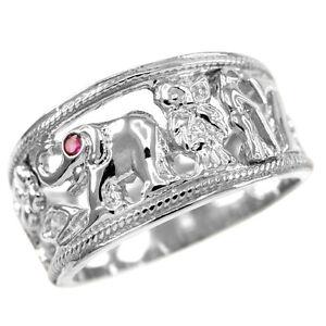 Sterling Silver Lucky Ring Owl Flower Elephant Horseshoe Seven Evil Eye