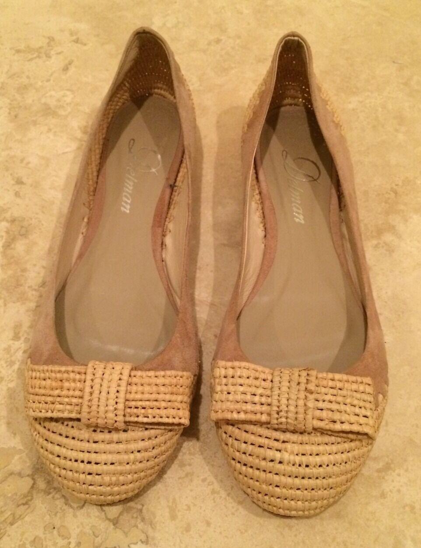 92f3b660a4c3 DELMAN DELMAN DELMAN Tan Beige Suede   Raffia Capped Toe Ballet Flats Shoes  w  Bow Sz 6.5M NEW 3afdc4