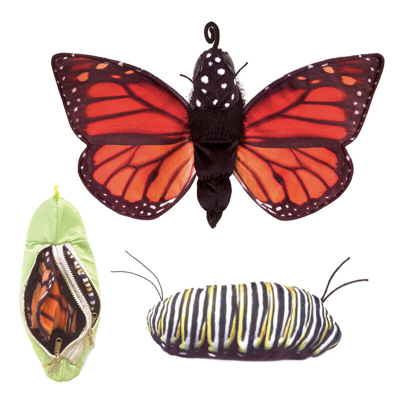 NEW PLUSH SOFT TOY Folkmanis 3073 Monarch Butterfly Life Cycle Hand Puppet