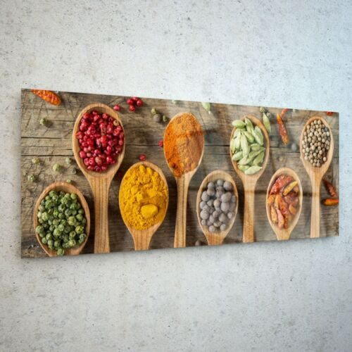 Wall Art Glass Print Canvas Picture Large Herbs Spices Kitchen 36253126 125x50cm