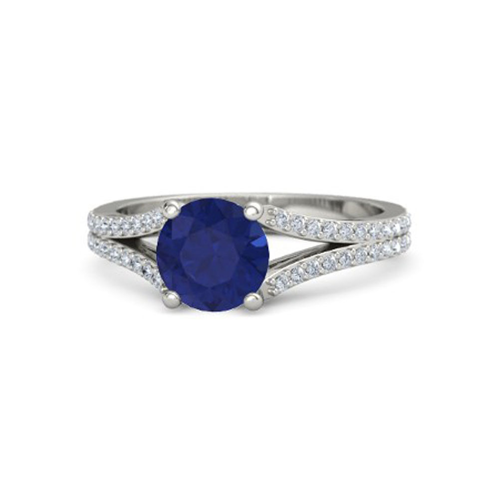 2.50 Ct. Diamond Natural bluee Sapphire Gemstone Rings Solid 14Kt White gold Ring