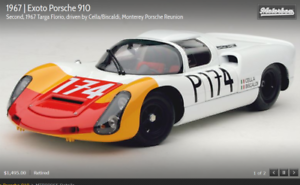 EXOTO 67 Porsche 910  2nd Targa Florio,Cella Biscaldi RETIRED 1 18 NIB  MTB00065
