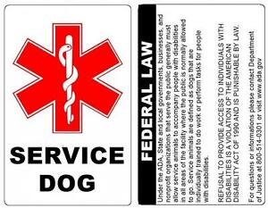 Tag with ada service dog id badge law on the back durable pvc credit card size for Service dog id template