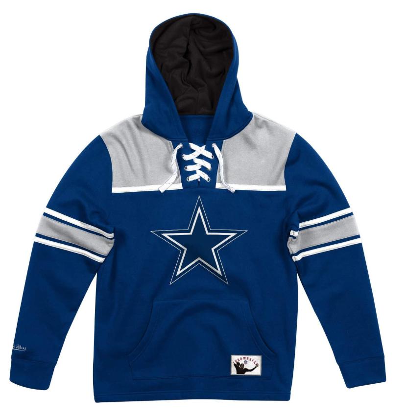NEW Navy Blau Dallas Cowjungs Mitchell & Ness NFL Foolball Fleece Hoodie
