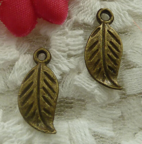 free ship 230 pieces bronze plated leaves charms 17x7mm #2215