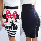 Women Cartoon Minnie Mickey Mouse Bodycon Dress Cocktail Party Pencil Mini Skirt