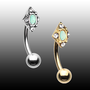 Golden Diamond Shaped Ornate Curved Barbell Eyebrow Ring Clear Mint Green Silver