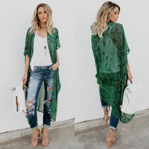 Women Floral Kimono Cardigan Duster Wrap Shawl Boho Gypsy Loose Baggy Tops Coats