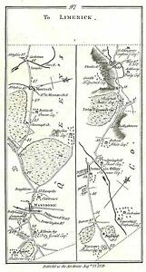 Antique map, Road from Dublin to Limerick (2)