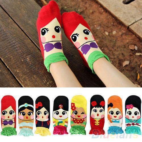 Hot sale Womens Princess Cute Cartoon Girls Cotton Ankle Low Cut Socks