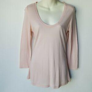 Joie Women's Long Sleeve Ecru Top Scoop Neck Collar Light Pink Size S