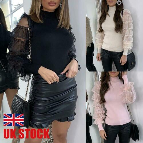 Womens Puff Sleeve Lace Knitted Sweater Ladies Turtleneck Slim Fit Blouse Jumper