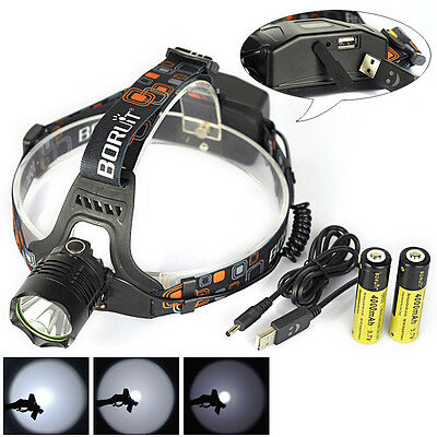 BORUIT 2500LM XM-L2 LED Headlight Headlamp USB Lamp Head Torch+2X 18650+Charger