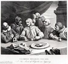 William Hogarth: Columbus breaking the egg.L'Uovo di Colombo.Satira.ACCIAIO.1850