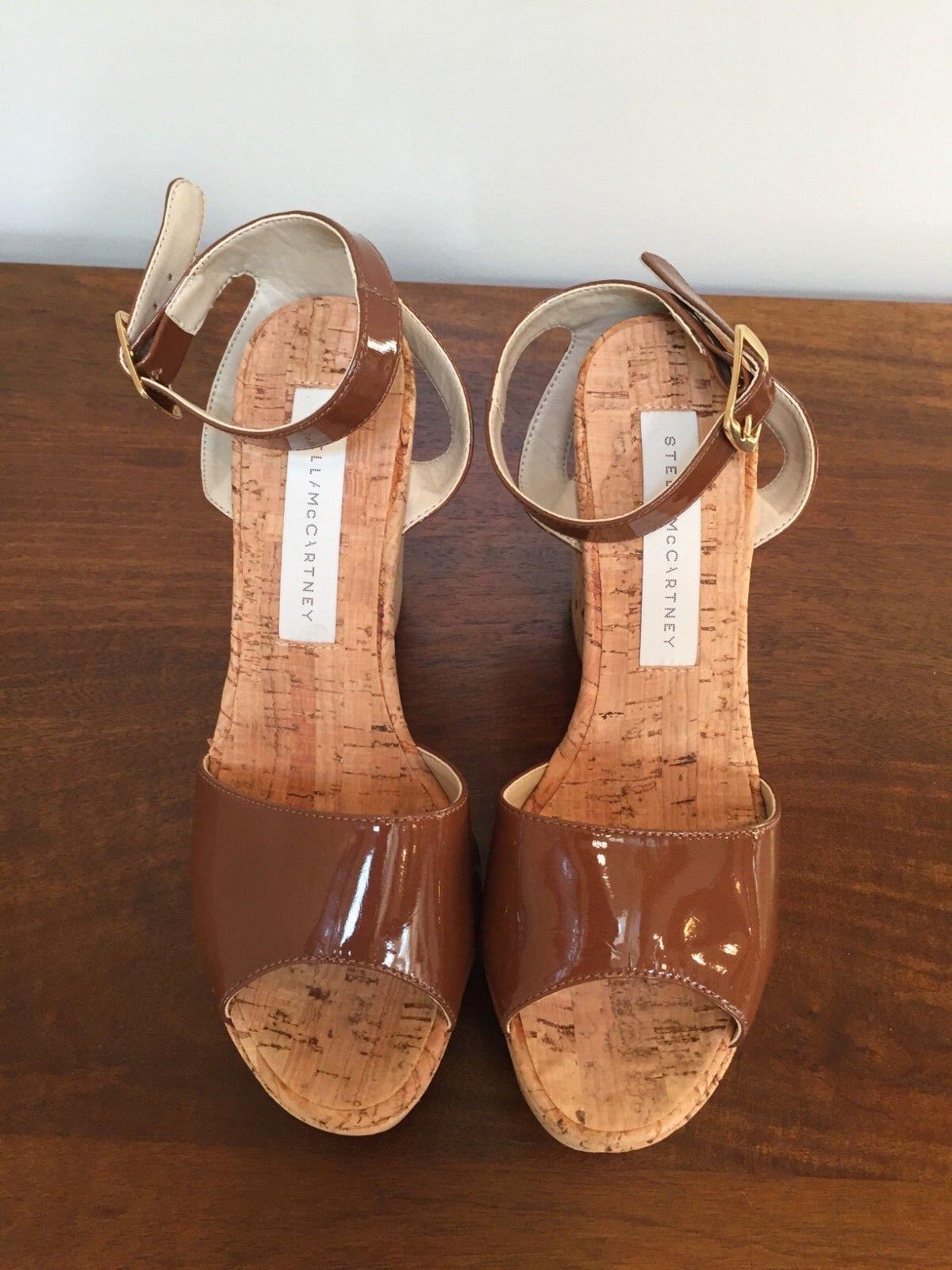 Stella McCartney CORK PLATFORM SANDALS Patent Brown  Size 37