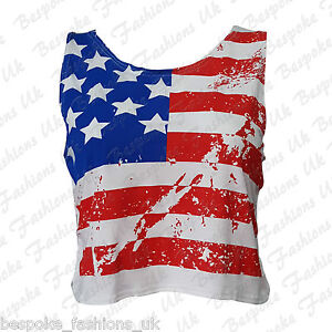 Ladies-Women-039-s-USA-American-Flag-Print-Sleeveless-Crop-Vest-Top-T-Shirt-SM-ML