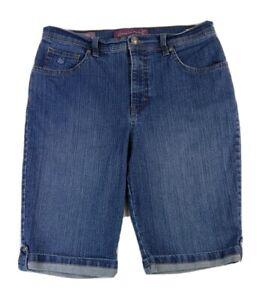 Gloria Vanderbilt Womens Sz 6 S Blue Jean Denim Skimmer Shorts Cotton Stretch