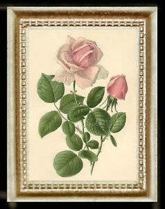 Vintage Flowers Pink Rose Miniature Dollhouse Doll House Picture