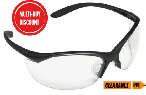 3 PAIRS Safety Spectacles Honeywell Venom Clear Lens Black Frame