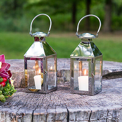Silver Stainless Glass Lantern Rustic Outdoor Wedding Party Decorations Q17853