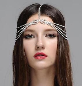 Sparkle Rhinestone Dangle Forehead Hair Chain Headpiece Wedding Bridal Decor