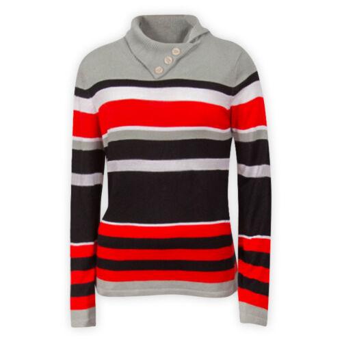 Da Donna con Collo a Imbuto a Righe Maglione Rosso Blu Casual Con Colletto Maglione Top