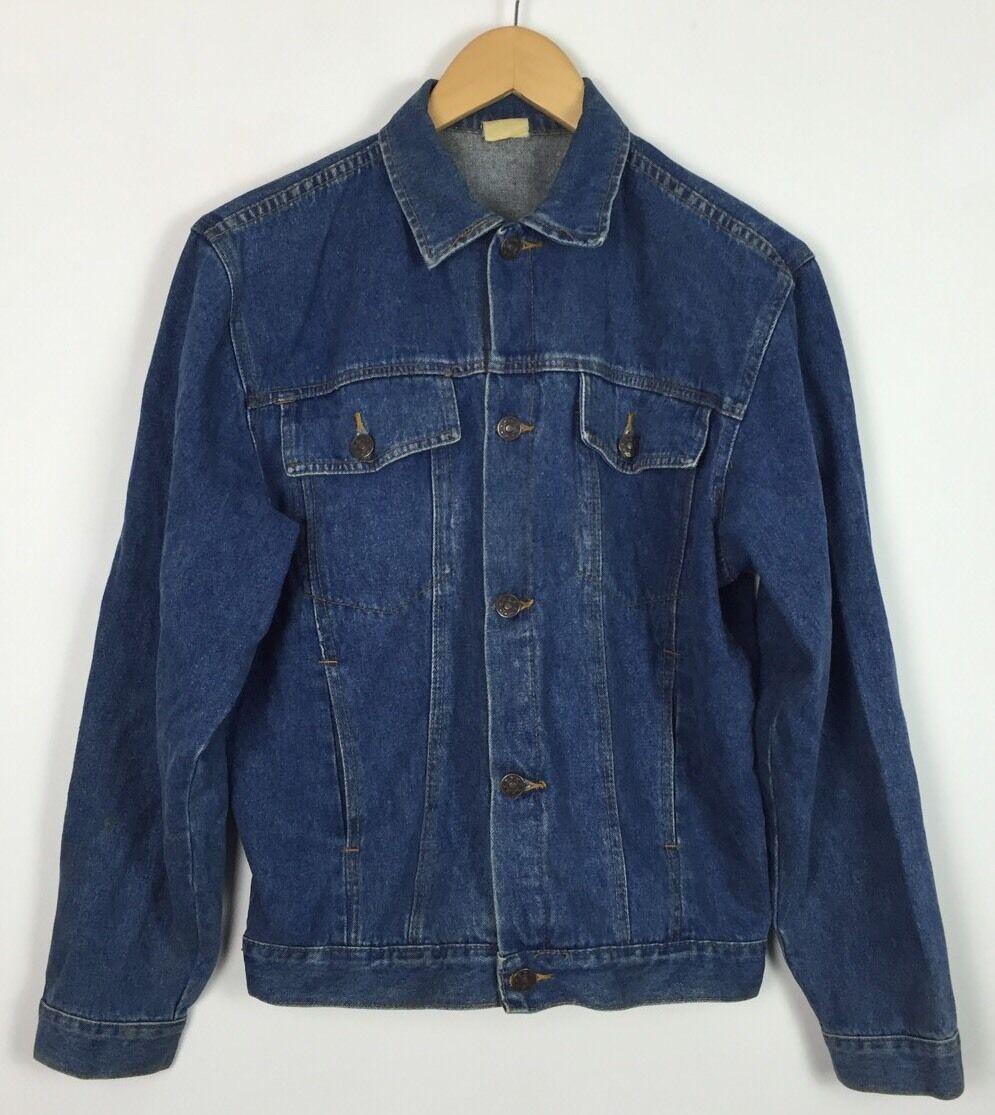 a6b7d93248bf Vintage années 90 Veste en jean jean jean délavé Manteau Festival Rétro  Grunge Urban UK S