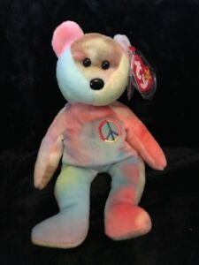 08b09a8cf10 Rare Ty Beanie Baby Peace Bear Original Collectible with Tag Errors ...