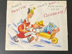 Vintage-1950-039-s-Pop-Up-Birthday-Greeting-Card-034-Hit-Parade-034