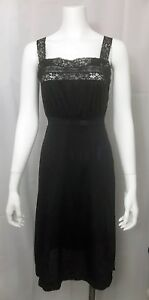 Vintage-Van-Raalte-Petal-Skin-Nightgown-Black-Nylon-Lace-Empire-Waist-size-32