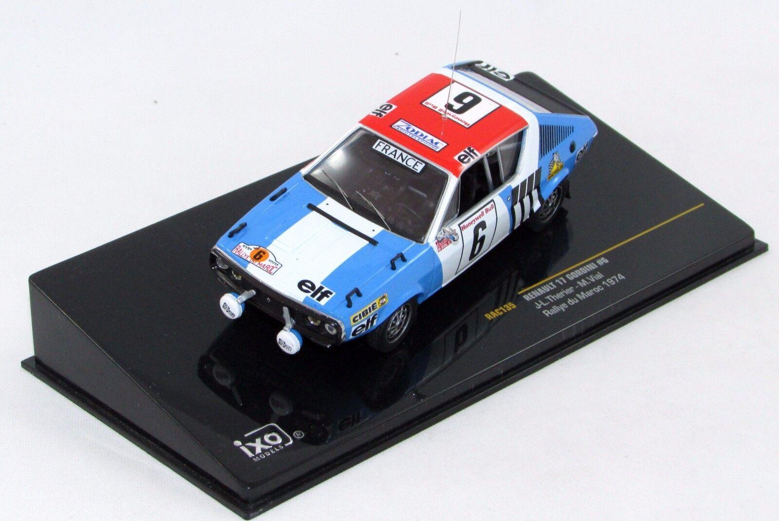 Renault 17 gordini RALLYE DU MAROC 1974 Nº rac135 1 43 IXO